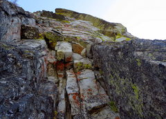 Rock Climbing Photo: Looking up from the P1 alcove belay. Climb up and ...