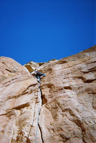 Rock Climbing Photo: Taylor leading P1