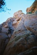 Rock Climbing Photo: Working into the hand crack. The overhang at the t...