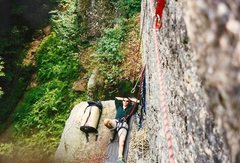 Rock Climbing Photo: The first pitch boulder you belay off