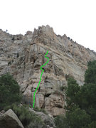 Rock Climbing Photo: The interruption of the green line marks where you...