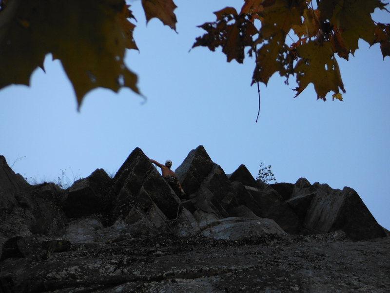 Rock Climbing Photo: Doug Kern in the hanging dihedral P3