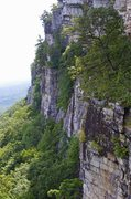 Rock Climbing Photo: Climber on Middle Earth from Grand Traverse Ledge ...