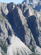 Rock Climbing Photo: Approximate line of the Route in red.