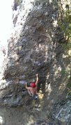 Rock Climbing Photo: Unknown climber post crux on The Drifter. Kipp was...