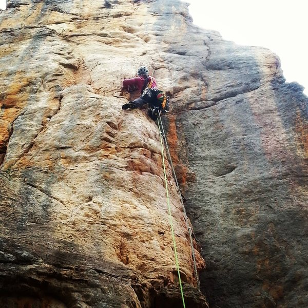 Hannah leading Lemmington (5.10a)