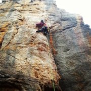Rock Climbing Photo: Hannah leading Lemmington (5.10a)