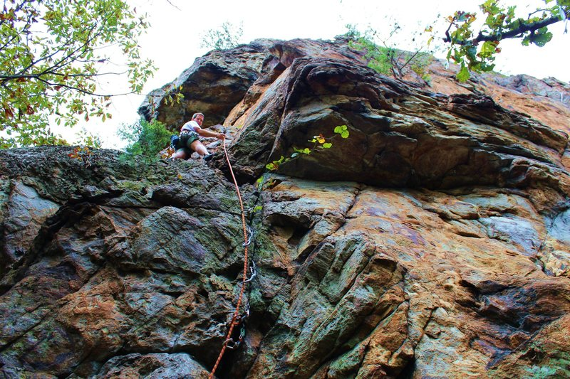 Davids Castle Wall<br> <br> Rediscovery (5.8) trad<br> <br> Crowders Mountain State Park, North Carolina