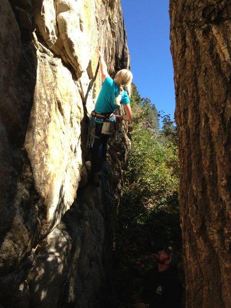 Rock Climbing Photo: Myranda leading The Burnt at age 11
