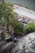 Rock Climbing Photo: Solving the moves to come around the corner into t...