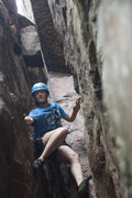 Rock Climbing Photo: Stemming deep inside the shadowy Grotto