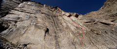Rock Climbing Photo: The route as seen from the bottom. This makes the ...