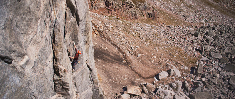 Rock Climbing Photo: Final crux moves on pitch 2. This is a video still...
