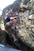 Rock Climbing Photo: Moving left to the bad sloping crimp.