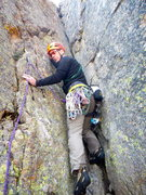 Rock Climbing Photo: Charles Goldman leading up the 3rd pitch.