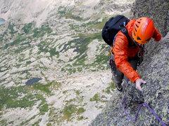 Rock Climbing Photo: Enjoying some of that alpine exposure near the sum...