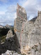 Rock Climbing Photo: Approximate route sketch, via Normale on Torre Ing...