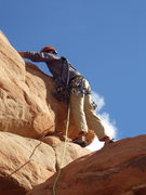 Rock Climbing Photo: roger placing gear at the crux (second and last pi...