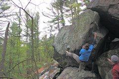 Rock Climbing Photo: Start with left hand just below Jay's left foot an...