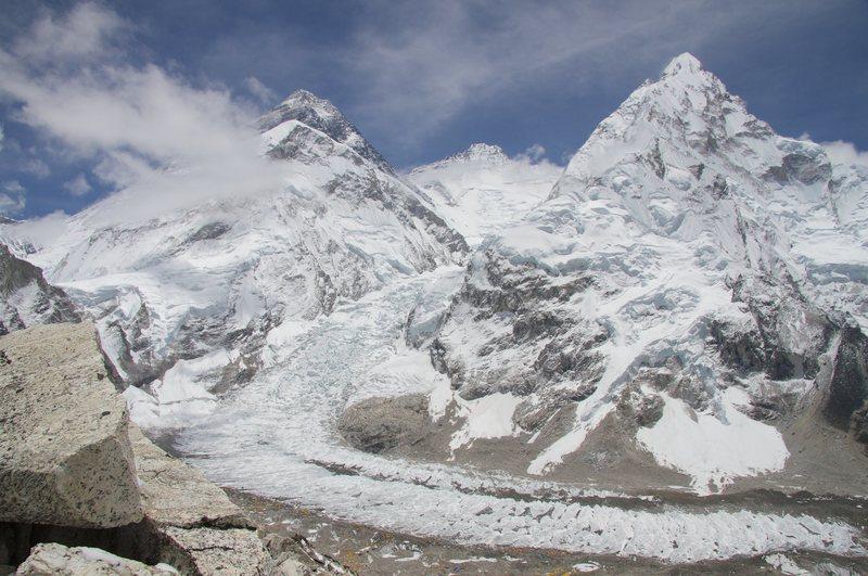 Rock Climbing Photo: Everest, Lhotse and Nuptse from 19,000 feet at Pum...