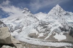 Rock Climbing Photo: Everest, Lhotse and Nuptse from 19,000 feet at Pum...