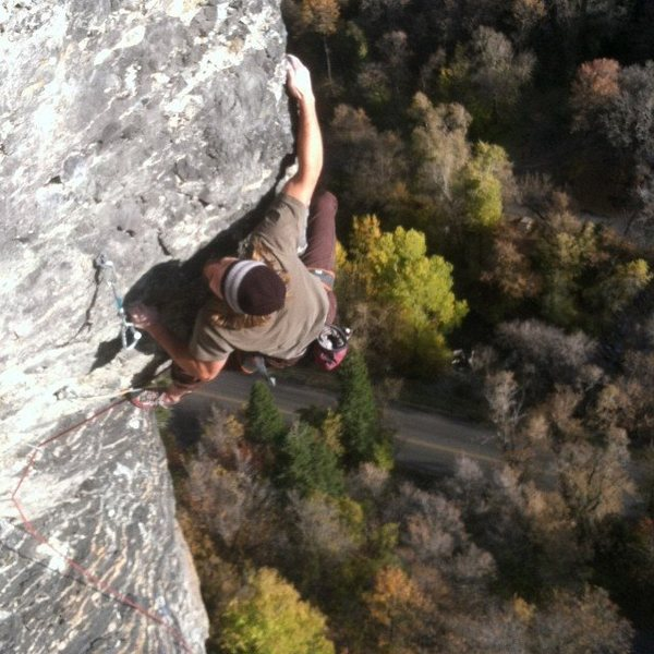 Rock Climbing Photo: pulling the crux