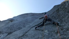 Rock Climbing Photo: Pitch 4. Traverse left on flakes, step in a hole, ...