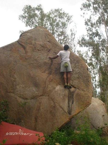 Rock Climbing Photo: Arun scaling a slab at Thurahalli. I think it's a ...