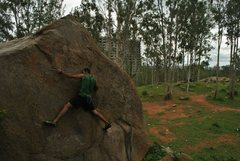 Rock Climbing Photo: A slab boulder, goes at V2.
