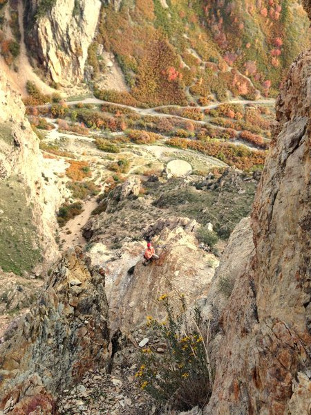Rock Climbing Photo: Exposed view from P1 anchors on Shards of Narsil. ...
