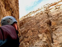 Rock Climbing Photo: Looking up at the final pitch of Shards of Narsil ...