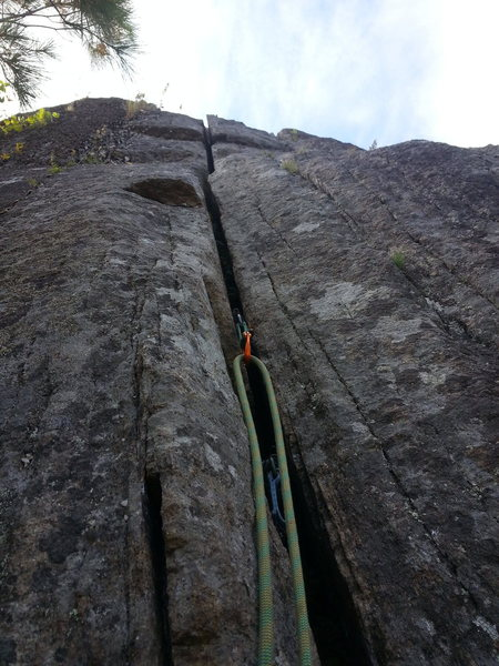 Rock Climbing Photo: Not a great photo; looking up at pitch 4.