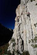 Rock Climbing Photo: Laura Sasso leading Satan's Corner.