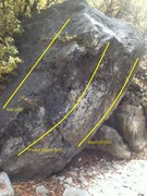 Rock Climbing Photo: Pocket Boulder. Looking from stream bed towards tr...