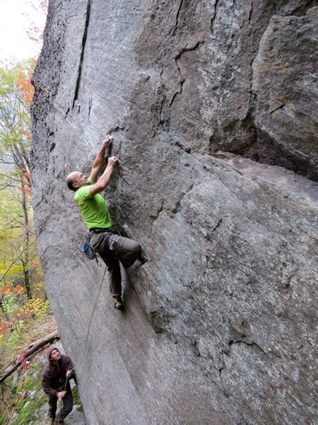 """Dave Quinn on his route """"Forty Six and 2"""",5.12d/13a Rumney, NH"""