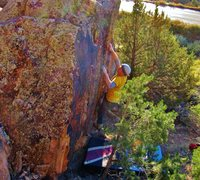 Rock Climbing Photo: Brad sticking the right hand crimp on Googol One.