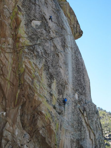 Clay high up on the second pitch dialing in the moves on an earlier attempt.