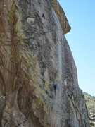 Rock Climbing Photo: Clay high up on the second pitch dialing in the mo...