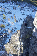 Rock Climbing Photo: Looking down from the top.  Cold belay...