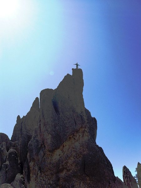 Rock Climbing Photo: My Wife on the summit after climbing the dog and p...