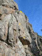 Rock Climbing Photo: Center bolt & gear route.