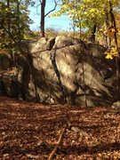 Rock Climbing Photo: Oliphant Boulder. Contains 1. Legolas Attacks (V4)...