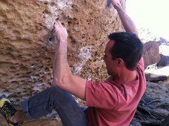 Rock Climbing Photo: Morning dove white (V7) at the Happies