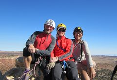 Rock Climbing Photo: On top FA Rising Sons Tower, Utah 2012 P.Ross. A.R...