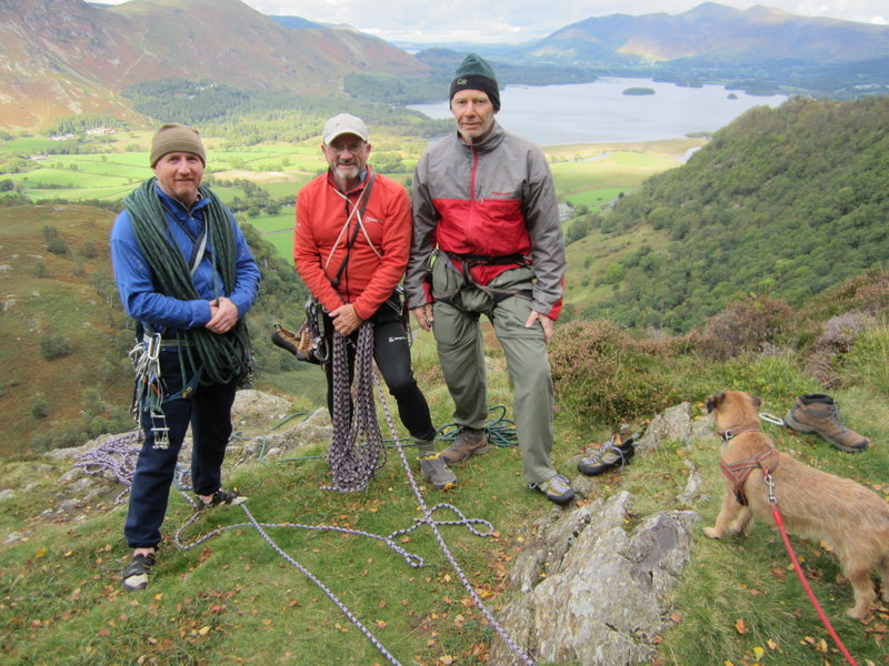 Top of Black Crag .. Borrowdale UK Oct 2013. Visit from the Utah giant <br> A.Ross P.Ross .G.Vallee
