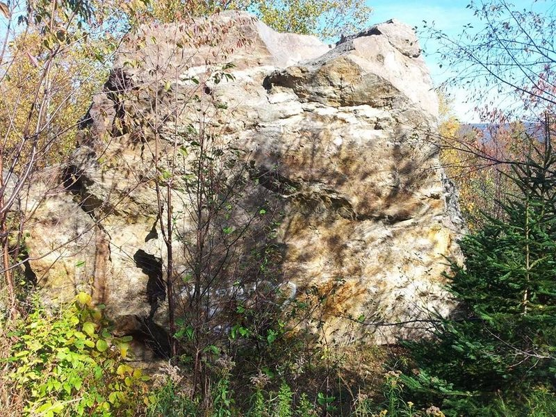 Second large boulder. several faces with problems on it. Hard to see but the centre of the boulder is close to 20 ft.