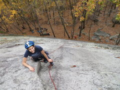 Rock Climbing Photo: Katja seconding T.B.D.  Note the trees at bottom t...