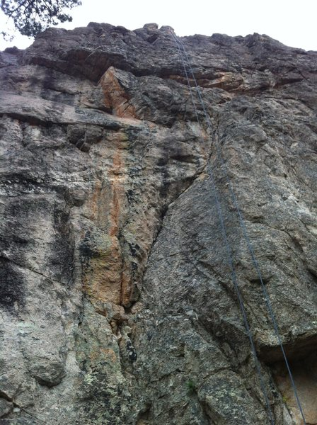 Better shot of the route. It follows the crack to the left of then crossing the rope.