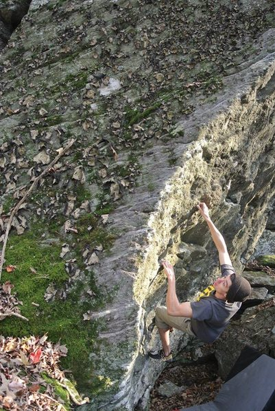 "Rock Climbing Photo: Sam working through the start on ""Hang Ten&qu..."