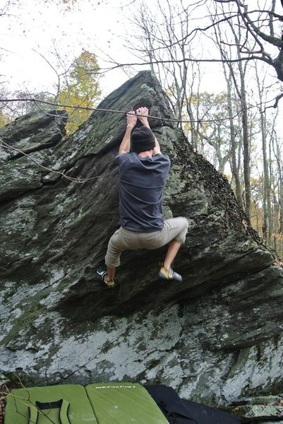 """Parallelascope Boulder. Sam finishing the FA of  """"Nap & Ralley"""""""